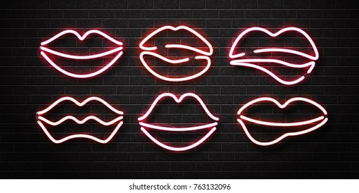 Vector set of realistic isolated neon erotic lips sign for decoration and covering on the wall background.