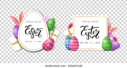 Vector set of realistic isolated poster cards for Easter sale with eggs for decoration and covering on the transparent background. Concept of Happy Easter.