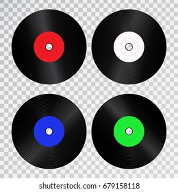 Vector set of realistic isolated retro vinyl record for decoration and covering on the transparent background.