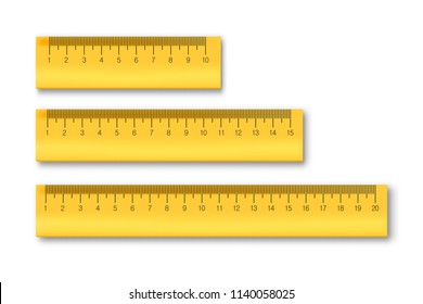 Vector set of realistic isolated ruler for decoration and covering on the white background. Concept of school, education and learning.