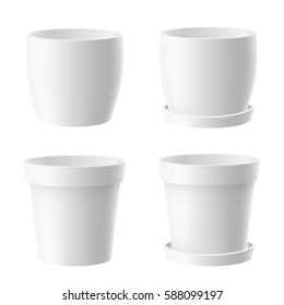 Vector set of realistic isolated white flower pot on white background