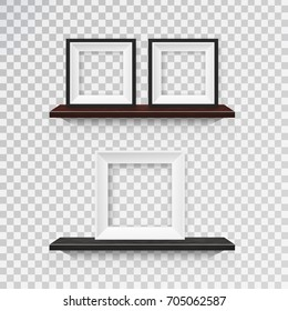 Vector set of realistic isolated wooden shelves with picture and photo frames for decoration and covering on the transparent background.