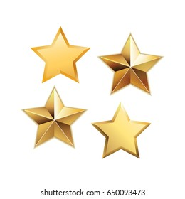 Vector set of realistic metallic golden stars isolated on white background.  Glossy yellow 3D trophy star icon. Symbol of leadership.