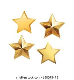 Vektor sett med realistiske metalliske gyldne stjerner isolert på hvit bakgrunn.  Glanset gul 3D trofé stjerne ikon. Symbol på lederskap.