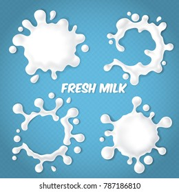 Vector set of realistic milk splashes with drops isolated on blue transparent background. Fresh natural dairy products, cream or yogurt blots, abstract white shapes. Milky labels for package design