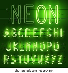 Vector set of realistic neon letters of the english alphabet with wires on green background. Glowing neon light latin alphabet font. Type letters, neon tube letters on dark background. Lights on, off