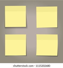 vector set of realistic paper yellow memo sheets