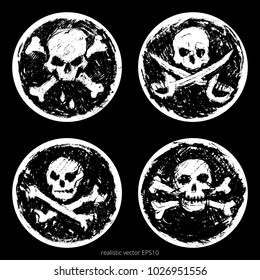 Vector set of realistic pirate Black Spots. Collection of vintage classic Jolly Roger signs. Charcoal sketches of the skulls and crossbones with a crossed boarding cleavers. Isolated round stickers.