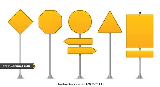 Vector set of realistic road signs. Blank yellow road sign. Isolated on white background