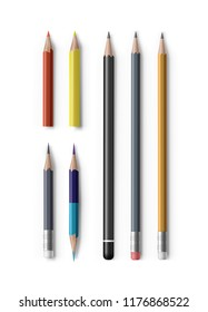 Vector set of realistic sharpened pencils of various types and lengths, with eraser , double-sided, hexagonal, triangle and cylindrical isolated on white