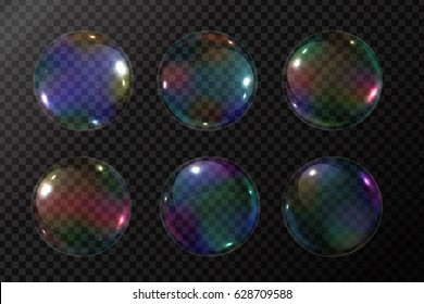 Vector set of realistic soap bubbles on the transparent background.