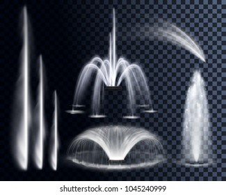 Vector set of realistic water waterfalls, geysers, fountains and single splash or spray including cascading streams of various shape isolated on background