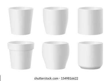 Vector set of realistic white ceramic flower pots isolated on white background. Pots of different shapes. 3D illustration