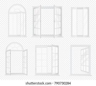 Vector set of realistic windows isolated on the alpha transperant background.