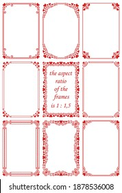Vector set of rectangular frames in a modern and vintage style with red hearts.Beautiful ornament, romantic pattern for design of Valentine's day card, invitation, banner, greeting, gift, wedding card