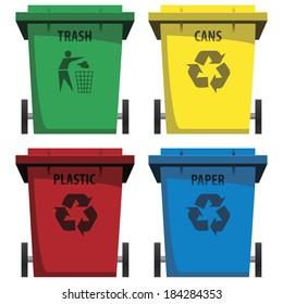 vector set of recycle bins