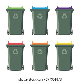 vector set of recycling wheelie bin icons. isolated on white background, industrial recycle of waste and garbage concept symbols