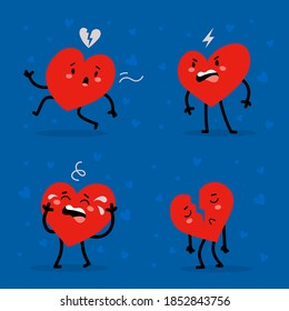 Vector set of red adorable heart character in different poses with cry and sad emotions on blue background. Romantic flat style Valentine's Day illustrations to express feelings of love