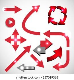 Vector set of red arrow