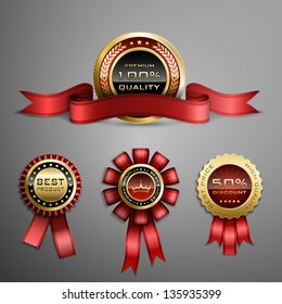 Vector set of red award ribbons and golden medals