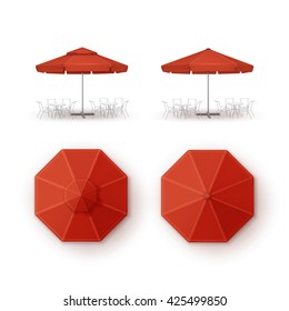Vector Set of Red Blank Patio Outdoor Market Beach Cafe Bar Pub Restaurant Round Umbrella Parasol  for Branding Top Side View Mock up Close up Isolated on White Background