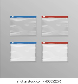 Vector Set of Red Blue Sealed Empty Transparent Plastic Zipper Bags Close up Isolated on Background