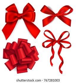 Vector set of red bows