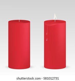 VECTOR: Set of red candles with and without flame on isolated white background. Mock-up template for design.