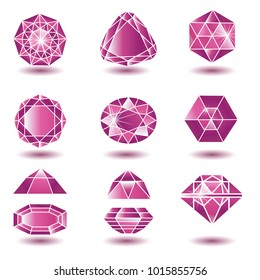 Vector set of red diamond (rubin) design elements - cutting samples. Gemstone. Fashion jewelry.