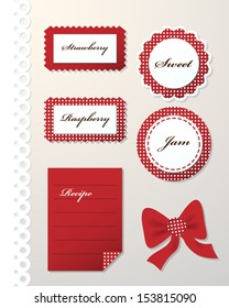Vector set of red dotted labels and ribbon./Dotted labels/Dotted labels.