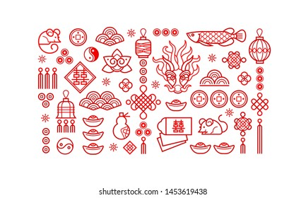 Vector set of red icons for design elements on Chines style. Isolated. Rat zodiac sign, symbol of 2020 on the Chinese calendar. White Metal Rat, dragon, lucky coins, lanterns, lucky knots.