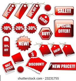 Vector Set of Red Sales Tags
