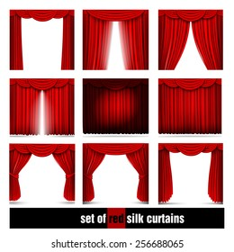vector set of red silk curtains with light and shadows of the open and closed