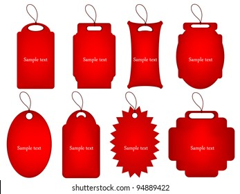 vector set of red tags for any purpose