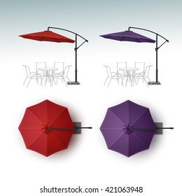 Vector Set of Red Violet Purple Blank Patio Outdoor Beach Cafe Bar Pub Lounge Restaurant Round Umbrella Parasol for Branding Top Side View Mock up Close up Isolated on White Background