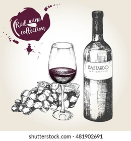 Vector set of red wine in engraved vintage style. Wine bottle, glass and grape. Isolated on grunge background. Decorated with lettering and blots. Use for restaurant, cafe, store, food, menu, design.