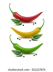 Vector Set of Red Yellow Green and Black Peppercorn Hot Chili Pepper with Peppermint Leaves Isolated on White Background