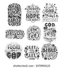 Vector set of religions lettering. Modern bible lettering illustration. T shirt hand lettered calligraphic design. Inspirational vector typography