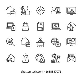 Vector set of remote work line icons. Contains icons working from home, interview online, freelance, search job, resume online, tasks online and more. Pixel perfect.