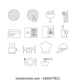 Vector set of restaurant icons. Line style icons set.