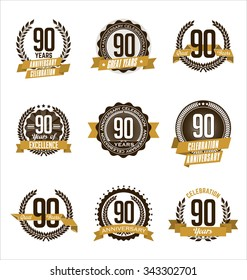 Vector Set of Retro Anniversary Gold Badges 90th Years Celebrating