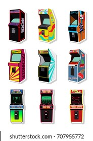 Vector Set of Retro Arcade Machines