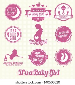 Vector Set: Retro It's A Baby Girl Labels and Icons