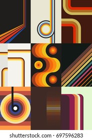 Vector Set of Retro Backgrounds. Wallpapers from the Seventies