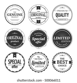 Vector set of retro badges and labels. Vintage classic elements with title Genuine product, Premium quality, Best choice, Limited edition, Special offer, Original product. Isolated from a background.