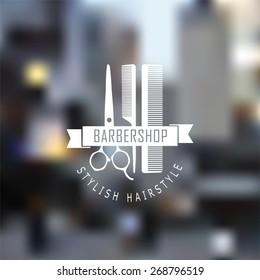 Vector set of retro barber shop labels, logo, badges and design element.