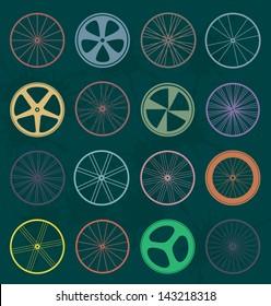 Vector Set: Retro Bike Wheel Silhouettes