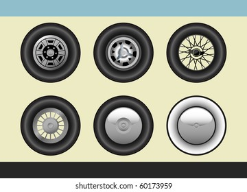 Vector set of retro car wheels