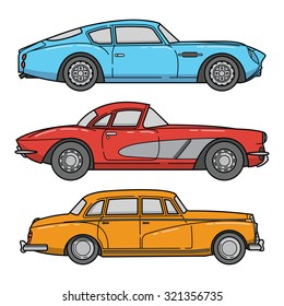 vector set of retro cars. vintage autos illustration