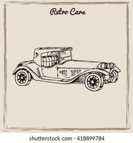 Vector set of retro cars.Vintage autos illustration. Hand drawn